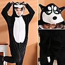 ราคาถูก ชุดนอน Kigurumi-ผู้ใหญ่ Kigurumi Pajama Husky Onesie Pajama ผ้าสำลี สีดำ คอสเพลย์ สำหรับ ผู้ชายและผู้หญิง สัตว์ชุดนอน การ์ตูน Festival / Holiday เครื่องแต่งกาย