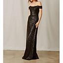 זול שמלות שושבינה-מעטפת \ עמוד סירה מתחת לכתפיים עד הריצפה נצנצים שמלה לשושבינה  עם נצנצים על ידי LAN TING Express