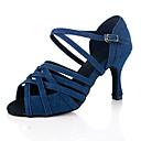 olcso Latin cipők-Női Dance Shoes Vászon Latin cipők Magassarkúk Kubai sarok Személyre szabható Kék