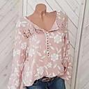 baratos Vestidos para Meninas-Mulheres Blusa Estampado, Floral Preto / Primavera / Outono