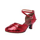 ราคาถูก รองเท้าเต้นโมเดิร์นและรองเท้าบัลเล่ต์-สำหรับผู้หญิง รองเท้าเต้นรำ Synthetics ลาติน / โมเดอร์น ปักเลื่อม ส้น ส้นCuban สีน้ำตาล / Drak Red / สีทอง