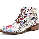 billige Mote Boots-Dame Støvler Trykk sko Flat hæl Rund Tå PU Ankelstøvler Høst vinter Svart / Rød