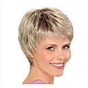 billiga Syntetiska peruker utan hätta-Syntetiska peruker Rak Frisyr i lager Peruk Blond Korta Ljusguldig Syntetiskt hår 8inch Dam Luktfri Moderiktig design Justerbar Blond / Värmetåligt / Värmetåligt