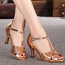 baratos Sapatos de Dança Latina-Mulheres Sapatos de Dança Couro Sintético Sapatos de Dança Latina Salto Salto Grosso Dourado / Ensaio / Prática