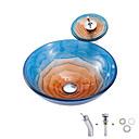 Χαμηλού Κόστους Παιδικά πέδιλα-boweiya κατασκευαστής ενέκρινε bwy19-150 ως ένα απλό καυτό-τσάι τριαντάφυλλο-μπλε-πορτοκαλί στρογγυλό λεκάνη υαλοπίνακα γυαλί με βρύση βρύση βραχίονα βραχίονα