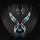 povoljno Modne ogrlice-Žene Viseće naušnice Choker oglice Ogrlice s privjeskom 3D Jedinstven dizajn Vintage Naušnice Jewelry Plava Za Praznik 1set