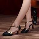 ราคาถูก ชุดเต้น Ballroom-สำหรับผู้หญิง รองเท้าเต้นรำ หนัง โมเดอร์น ส้น หนา Heel ตัดเฉพาะได้ สีดำ / เทาเงิน / สีม่วง / Performance