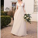 Χαμηλού Κόστους Νυφικά-Γραμμή Α Λαιμόκοψη V Μακρύ Δαντέλα / Τούλι Μακρυμάνικο Επίσημα Μεγάλα Μεγέθη / Εξώπλατο Φορέματα γάμου φτιαγμένα στο μέτρο με Δαντέλα 2020