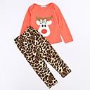 billige Sett med babyklær-Baby Jente Grunnleggende Leopard / Jul Langermet Normal Bomull Tøysett Rød