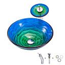 Χαμηλού Κόστους Παιδικά πέδιλα-boweiya κατασκευαστής παρτίδες bwy19-149 ένα συμπαγές καυτή τήξη τριαντάφυλλο-μπλε-πράσινη λεκάνη στρογγυλής λεκάνης υαλοπίνακα γυαλί με βρύση βρύση βραχίονα