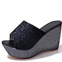 povoljno Ženske sandale-Žene Sandale Wedge Heel Peep Toe Lan Ljeto Crn / Zlato / Srebro