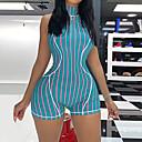 お買い得  フィットネス、ランニング&ヨガウェア-女性用 ワークアウトジャンプスーツ 縞柄 ヨガ ランニング ジムトレーニング ボディスーツ アクティブウェア 吸汗性 速乾性 バットリフト おなかコントロール 伸縮性あり