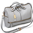 cheap Top Handles & Tote Bags-Women's Zipper Cowhide Top Handle Bag Solid Color Black / Blushing Pink / Light Gray