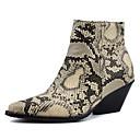 ราคาถูก ไฟLEDแสงอาทิตย์-สำหรับผู้หญิง บูท ส้นหนา Pointed Toe PU รองเท้าบู้ทหุ้มข้อ วินเทจ ฤดูใบไม้ร่วง & ฤดูหนาว สีดำ / ขาว / สีเหลือง
