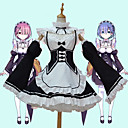 billiga Animekostymer-Inspirerad av Re:Zero Starting Life in Another World kara hajimeru isekai seikatsu Cosplay Animé Cosplay-kostymer Japanska cosplay Suits Kjol / Strumpor / Huvudbonad Till Dam / Peruk