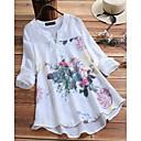 ราคาถูก เสื้อผ้าประวัติศาสตร์และวินเทจ-สำหรับผู้หญิง ขนาดพิเศษ เชิร์ต Chinoiserie / สง่างาม ลายพิมพ์ คอวี หลวม ลายดอกไม้ ขาว