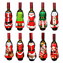 baratos Acessórios de vinho-2 pcs acessórios de natal garrafa de vinho papai noel boneco de neve tampa da garrafa set ano novo saco jantar de natal decoração de natal