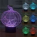 baratos Luzes da noite 3D-3d noite luz 7 cores ilusão mudar halloween acrílico abóbora usb led lâmpada quarto bar partido club para crianças meninos meninas amigo melhores presentes