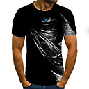 cheap Necklaces-Men's Weekend Street chic T-shirt - Color Block / 3D Pleated / Print Black