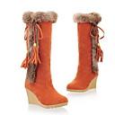 ราคาถูก รองเท้าบูตผู้หญิง-สำหรับผู้หญิง บูท รองเท้าบู้ทใส่สำหรับหิมะ รองเท้าส้นตึก ปลายกลม หนังนิ่ม บู้ทสูงระดับกลาง ฤดูใบไม้ร่วง & ฤดูหนาว สีดำ / สีน้ำตาล / ส้ม