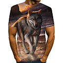 cheap Hair Pieces-Men's Daily Going out Street chic / Exaggerated T-shirt - Geometric / 3D / Animal Pleated / Print Rainbow
