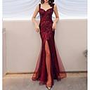 baratos Vestidos de Noite-Sereia Com Alças Finas Longo Poliéster Frente Única Evento Formal Vestido 2020 com Lantejoulas / Fenda Frontal