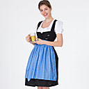 baratos Oktoberfest-Oktoberfest Dirndl Trachtenkleider Mulheres Blusa Vestido Avental Bávaro Ocasiões Especiais Azul / 100% algodão