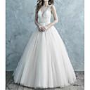 Χαμηλού Κόστους Νυφικά-Γραμμή Α Λαιμόκοψη V Ουρά Δαντέλα / Τούλι Λεπτές Τιράντες Επίσημα Εξώπλατο Φορέματα γάμου φτιαγμένα στο μέτρο με Δαντέλα 2020