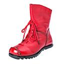 Χαμηλού Κόστους Αντρικές Μπότες-Ανδρικά Μπότες Μάχης Δέρμα Φθινόπωρο Καθημερινό Μπότες Φορέστε την απόδειξη Μπότες στη Μέση της Γάμπας Μαύρο / Κόκκινο