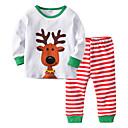 billige Undertøy og sokker til baby-2pcs Baby Jente Snøfnugg Stripet / Jul Printer Langermet Bomull Nattøy Hvit