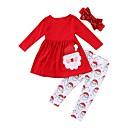 Χαμηλού Κόστους Σετ ρούχων για κορίτσια-Παιδιά Κοριτσίστικα Ενεργό Φεστιβάλ Στάμπα Χριστούγεννα Μακρυμάνικο Βαμβάκι Σετ Ρούχων Ρουμπίνι