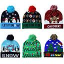 ราคาถูก ของตกแต่งวันคริสต์มาส-หมวกคริสต์มาสถัก led อบอุ่นป้องกันหมวกสวยเย็นคลาสสิกโรแมนติกของขวัญคริสต์มาสบรรยากาศ