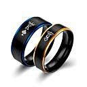 billige Ringer for Par-Par Band Ring 2pcs Blå Titan Statement Klassisk Europeisk Bryllup Engasjement Smykker Bokstaver