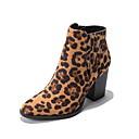 olcso Női csizmák-Női Csizmák Nyomtatási cipő Vaskosabb sarok Kerek orrú Mikroszálas Bokacsizmák Ősz & tél Barna / Leopárd