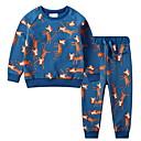 Χαμηλού Κόστους Σετ ρούχων για αγόρια-Νήπιο Αγορίστικα Βασικό Φλοράλ Στάμπα Μακρυμάνικο Βαμβάκι Σετ Ρούχων Θαλασσί