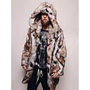 Χαμηλού Κόστους Τοιχογραφία-Ανδρικά Καθημερινά / Εξόδου Βασικό Φθινόπωρο & Χειμώνας Κανονικό Faux Fur Coat, Δετοβαμένο Με Κουκούλα Μακρυμάνικο Ψεύτικη Γούνα Καφέ