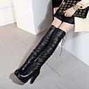 povoljno Ženske čizme-Žene Čizme Čizme preko koljena Kockasta potpetica Okrugli Toe PU Čizme preko koljena Vintage / minimalizam Proljeće & Jesen / Jesen zima Crn