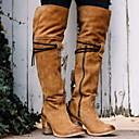 billige Mote Boots-Dame Støvler Over-The-Knee Boots Tykk hæl Rund Tå Semsket lær Lårhøye støvler Høst vinter Svart / Gul / Rød