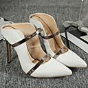 olcso Női magassarkú cipők-Női Magassarkúak Tűsarok Erősített lábujj PU Tavaszi nyár Fekete / Fehér