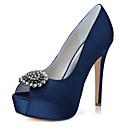 Χαμηλού Κόστους Γυναικεία παπούτσια γάμου-Γυναικεία Γαμήλια παπούτσια Τακούνι Στιλέτο Ανοικτή Μύτη Τεχνητό διαμάντι Σατέν Μινιμαλισμός Φθινόπωρο / Ανοιξη καλοκαίρι Μαύρο / Λευκό / Βυσσινί / Γάμου / Πάρτι & Βραδινή Έξοδος