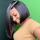povoljno Perike s ljudskom kosom-Ljudska kosa 13x6 Zatvaranje Prednji dio duboke čipke Lace Front Perika Bob frizura Kratak Bob Duboko udaljavanje Kardashian stil Brazilska kosa Ravan kroj Silky Straight Natural Perika 150% Gustoća