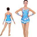 Χαμηλού Κόστους Παιδικά Ρούχα Χορού-Κορμάκια ρυθμικής γυμναστικής Κορμάκια καλλιτεχνικής γυμναστικής Γυναικεία Κοριτσίστικα Κορμάκι Ουρανί Spandex Υψηλή Ελαστικότητα Χειροποίητο Jeweled Εμφάνιση Διαμαντιού Μακρυμάνικο Ανταγωνισμός