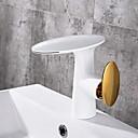 olcso Fürdőszobai kagyló csaptelep-Fürdőszoba mosogató csaptelep - Széleskörű Galvanizált Szabadon álló Egy fogantyú egy lyukkalBath Taps