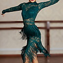 ราคาถูก ชุดเต้นรำลาติน-ชุดเต้นละติน ชุดเดรสต่างๆ สำหรับผู้หญิง Performance Tulle พู่ ชุดเดรส