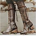 billige Mote Boots-Dame Støvler Komfort Sko Lav hæl Rund Tå PU Støvletter Høst vinter Brun / Grå