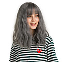 cheap Human Hair Wigs-Synthetic Wig Bangs Curly Water Wave Side Part Neat Bang With Bangs Wig Medium Length Black / Smoke Blue Synthetic Hair 14 inch Women's Cute Cosplay Women Dark Gray HAIR CUBE