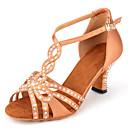 olcso Latin cipők-Női Dance Shoes Szatén Latin cipők Glitter / Csat / Csillogás Magassarkúk Kubai sarok Személyre szabható Mandula