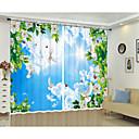 billige Gardiner-kreativ digital utskrift av hvit blomst hvit sky blå himmel og hvit duve 3d gardin skygge gardin høy presisjon svart silkestoff høy kvalitet førsteklasses skyggen gardin