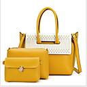 povoljno Tote torbe-Žene Patent-zatvarač PU Bag Setovi Jedna barva 3 kom Crn / Braon / Blushing Pink