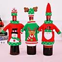 billiga Drinkware Tillbehör-2stk / set juldekorationer vinflaska tröja jultomten väska stickade hattar för nyårs julfest dekoration